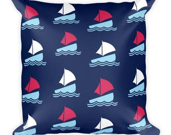 Sailboat Pattern Throw Pillow