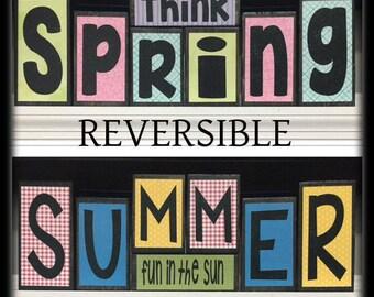 Reversible Wooden Blocks, Spring Decor, Easter Decor, Summer Decor, Wooden Block Set, Wooden Mantle Decor, Summer Mantle Decor