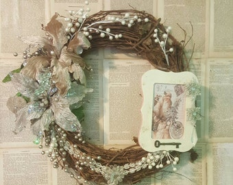 Vintage Victorian Christmas Santa Clause Door Wreath Wall Hanging 41