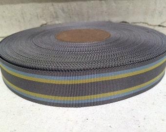 "7/8"" (23mm) preppy Grey/Yellow/ blue stripes grosgrain ribbon"