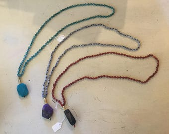 Natural stone long necklaces with pendant