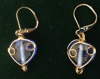 Twisted Blue Heart Earrings