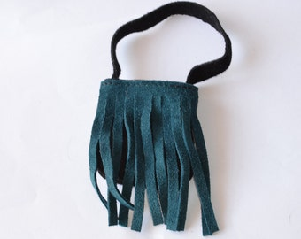 for dolls-green bangs and black bag bag