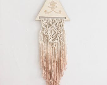 Macrame wallhanging small/boho/wood plaque/decor/dipdye