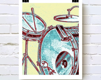 Drum Zoom - Drummer Art Print Musician Studio Art Home Decor with Drums Mixed Media Pop Art Design