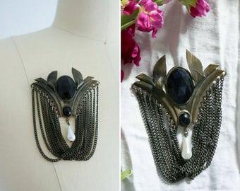 vintage Sombre brooch | vintage victorian style brooch | antique brooch