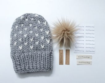 Tiny hearts slouchy knit toque - adult