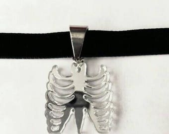 Rib cage mirrored choker - Red choker also available