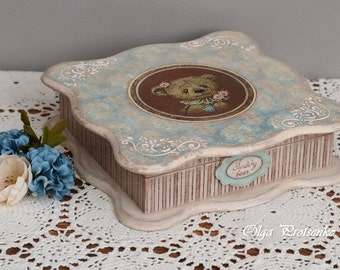 Teddy bear. Decoupage Wooden Storage Decorative Box