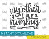 "Harry Potter SVG, Harry Potter Cut File, use with Cricut & Silhouette, ""My other ride is a Nimbus"", Instant Download"