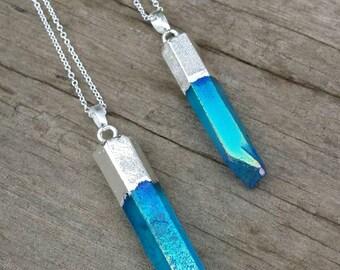Aqua Angel Aura Quartz Necklace