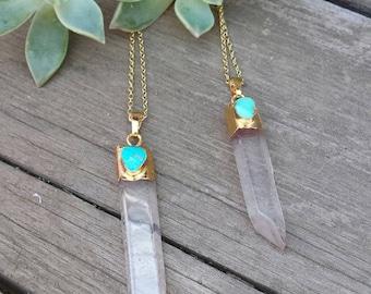 24K Quartz Crystal Necklace