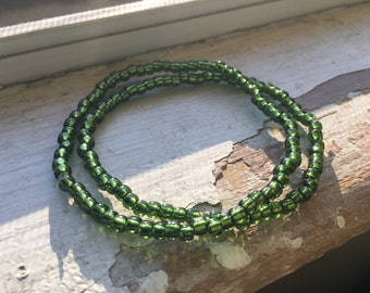 Olive Green Seed Bead Bracelet