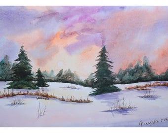 1+1=3! Print Watercolor painting, watercolor landscape painting, Original art, Winter landscape, Watercolor original painting