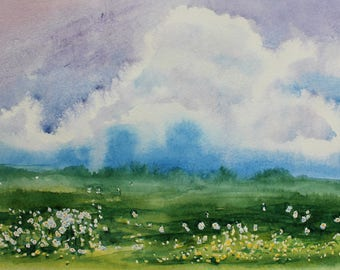 "ORIGINAL Watercolor painting, watercolor landscape painting, Original art, Summer landscape, meadow, field, home decor, 10 1/2""x7"" A4"
