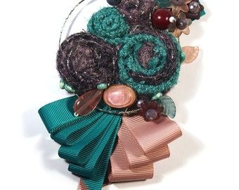 Fabric jewellry,  Flower brooch,  Flower pin, textile brooch, Purple emerald brooch ,Textile brooches