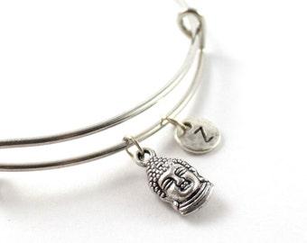 BUDDHA bangle, silver tone Buddha bracelet, Buddha charm, initial bracelet, adjustable bangle, personalized jewelry, swarovski birthstone