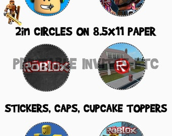 Roblox Themed Cup Cake Toppers, Bottle Caps, Labels, Printable Files