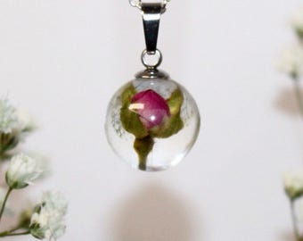 Tiny pink rose bud - Real flower pendant necklace - set in resin - with silver chain
