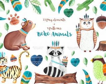 Boho animals Forest clipart woodland clipart Baby animals Watercolor clipart Leaves clipart Summer clipart Bear Raccoon Bird Tiger clipart