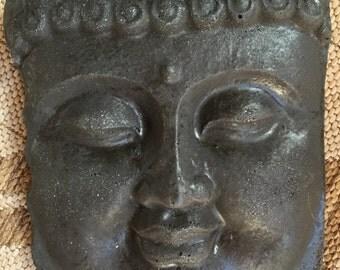Black Concrete Buddha Face Statue Garden Art Patio Decor Wall Plaque Zen