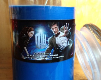 31oz Doctor Who themed Blueberry Scented Candle made with 100% soy wax and with a mystery prize inside!