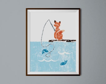 Fishing Fox Print, Cute Fox, Fishing Nursery Decor, Whimsical Animal Art, Kids Art Print, Boys Room Wall Decor, Girls Bedroom Decor