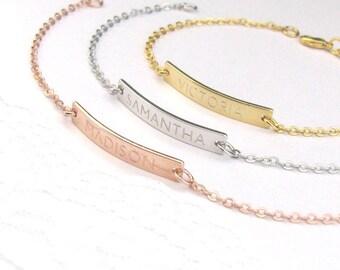 Custom Name Bracelet, Gold Bar Bracelet Engraved, Personalized Bar Bracelet, Custom Bracelet, Nameplate Bracelet, Bridesmaid Gift, Bracelet