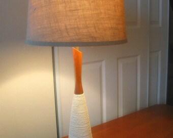 Danish mid century rope lamp walnut wood spindle