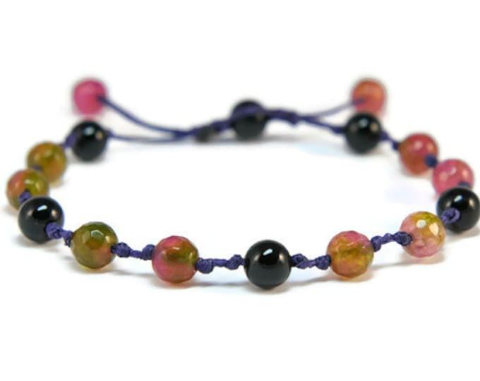 Boho Mulberry * Onyx & Crystals  Boho Style Pull - Tie Bracelet