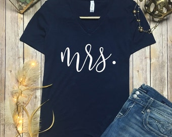 Mrs vneck Shirt - Mrs vneck - new wife shirt - Mrs Shirt - newlywed shirt - just married shirt - mr and mrs shirt - personalized - custom
