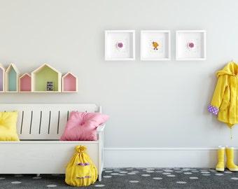 Yellow bird nursery decor, bird art, girls room, nursery decor, bird wall art, yellow bird nursery, toddler art, bird wall hanging