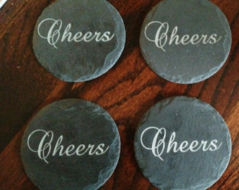Engraved Cheers, Round Slate Coasters  (set of 4)