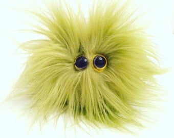 Furry monster, pom pom monster, Stress ball Monster, plush faux fur monster, Foozles.
