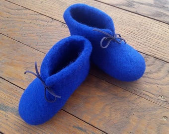Children Blue wool felted slippers, SLIPPERS for a boy, Handmade, Children Shoes, Baby Shoes, Blue felted slippers, Felted boots