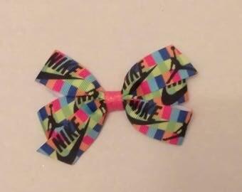 Designer inspired hair bow, girls hair bow, girls pigtail set, Sports hair bows, colorful hair bow, Nike hair bow