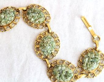 70s Vintage JADE druzy bracelet GREEN gemstone chips boho gypsy Victorian