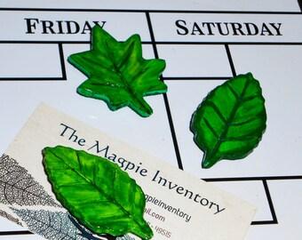 Handpainted Green Leaf Magnet 3-Pack