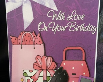 Female Birthday Card-Shopping Spree-3D Decoupage Greeting Card-Shopping Bags-Shoes-Handbags-Mobile Phone-Present-Cupcakes-Shopping-With Love