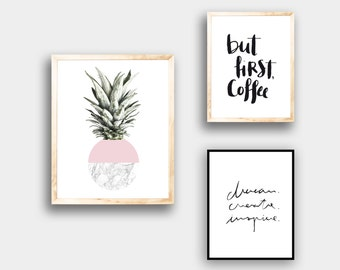 Poster, pineapple, pink, print, marble, pineapple