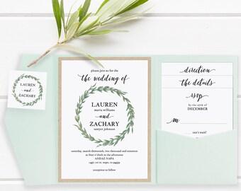 Pocket Wedding Invitation Set, Printable Wedding Invitation Template, DIY Wedding Invite, Download Rustic Watercolor Wreath #SPP032wip