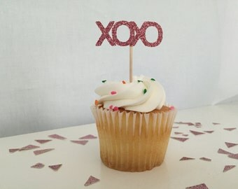 Pack of 24, Glitter pink, XOXO, cupcake toppers, Bridal shower, Engagement party, baby shower, birthday, hugs and kisses, love topper
