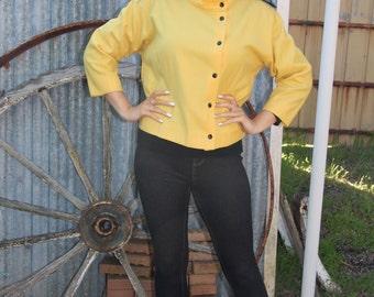French 80's yellow woollen stud jacket