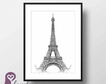 Eiffel Tower Poster | Paris | France | Architecture | Sketch | Wall Art | Wall Decor | Home Decor | Prints | Poster | Digital Paper