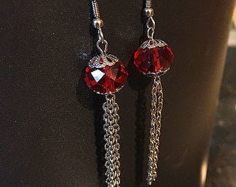Red Glassy Chain Earring