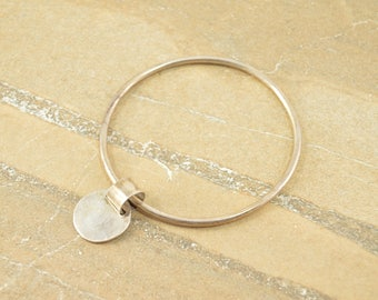 Round Slide Circle Blank Charm Tag Bangle Bracelet Sterling Silver 11.5g