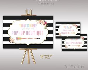 "Boho Yard Sign, Instant Download, 8.5"" x 11"", 18"" x 24"" , Poster, Digital, Yard Sign, Marketing, For Fashion Retailer K15L03"
