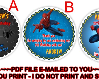 YOU PRINT- Spiderman Birthday Thank you Sticker, Spiderman Birthday Gift Tags, Spiderman Goody bag labels, Spiderman favor tags - BIRTHM5