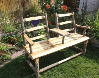 Rustic aspen log bench