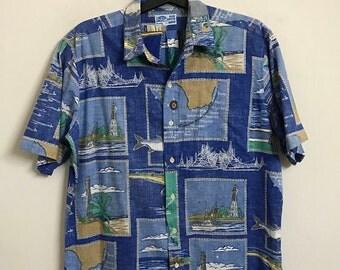 Vintage 80s Mens Hawaiian Afco Blue Water Wear Reverse Print Tapa Design Hawaii Shirt Large Retro Rockabilly Gypsy Summer Beach Wear